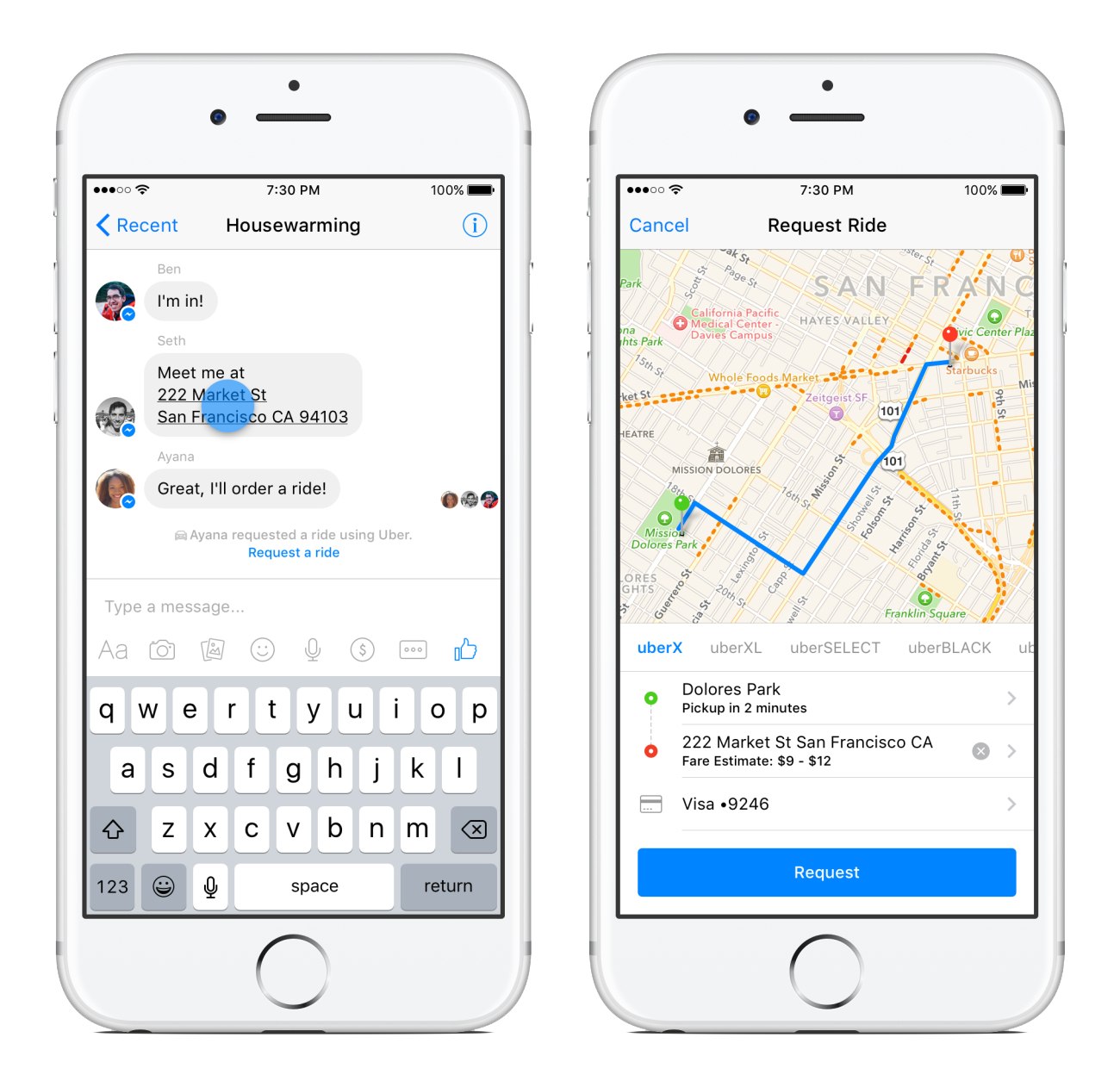 Uber Secure Integration with Facebook Messenger